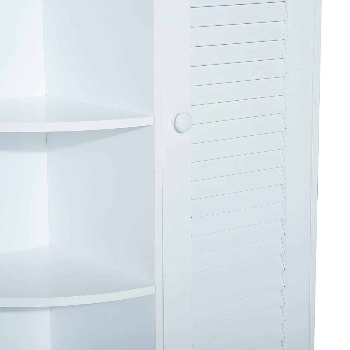 "HomCom 32"" Floor Cabinet with Shutter Door and Side Shelves - White"