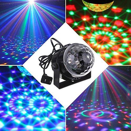 RGB effect Stage Lighting 5w Crystal Auto Sound Magic Ball Disco Light dmx star laser party DJ club elf Lamp US Plug (Sound Shower compare prices)