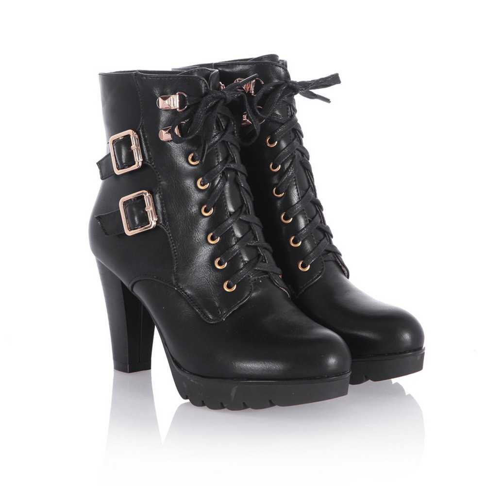 QueenFashion Women's Western Style High Chunky Heels Ankle Boots with Metal Buckles and Lace-up,Black,38