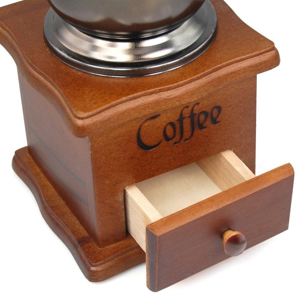 Hotkey Manual Vintage Bronze Coffee Grinder Household Retro Wood Delicate Coffee Mill with Procelain,Durable Hand Grinding Machine 3
