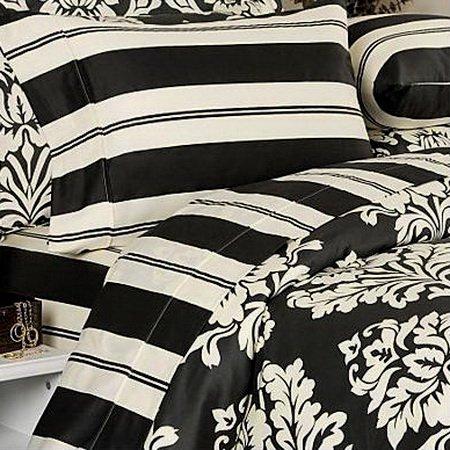 Black And Cream Bedding Grand Sales: 7pc Modern Toile Damask Black