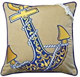 Beige Anchors Away Nautical Motif Embroidered Indoor/Outdoor Weather Resistant Accent Pillows Set of two, 19 inch)