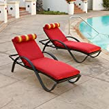 Deco Patio Chaise Lounge with Cantina Red Cushion (2-Pack)