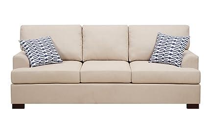 Upholstered Sofa - Khaki Microsuede