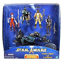Hasbro Year 2003 Star Wars Saga Series 4 Pack 4 Inch Tall Action Figure Set Ultimate Bounty Aurra Sing With Sniper Rifle And Swoop Bike, Boba Fett With Blaster Rifle And Pistol, Boosk With Blaster Rifle And Pistol Plus Ig 88 With Blaster Rifle Plus 4 Display Bases