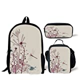 School Lunch Pen Bags,Dragonfly,Grunge Style Design Flowers Leaves and Bugs Flies Wings Image,Light Pink Burgundy and Blue,Personalized Print (Color: Multy, Tamaño: 17.3