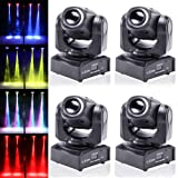 4pcs One Set Stage Lights, 50W Portable LED Spot Moving Head RGBW 4 Color Light with Colorful Ring 10/12 Channels for Party Disco Dj Show DMX-512 by U`King (Color: 4 Pack Stage Lights, Tamaño: mini stage light)