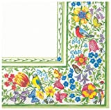 GIARDINO BELLINO flowers birds and butterflies border paper 3 ply lunch napkins 33 cm square 20 in a pack
