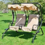 Outsunny Luxury Metal Swing Chair 2 S...