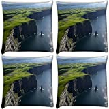 Snoogg Green Mountain And Ocean Pack Of 4 Digitally Printed Cushion Cover Pillows 12 X 12 Inch