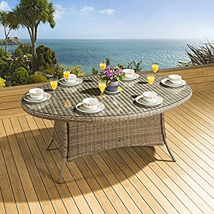 Massive Luxury Garden/Outdoor Oval Dining Table Mocha Rattan 1.8 x 1.2