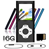 Tomameri - MP3 / MP4 Player with Rhombic Button, Portable Music and Video Player, Including a 16 GB Micro SD Card and Maximum Support 32GB, Supporting Photo Viewer, Video and Voice Recorder - Black (Color: F16G-Black-6)
