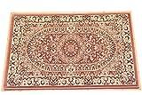 ウィルトン織 ペルシャ 玄関マット 約 50X80 75万ノット 屋内 室内 サフィール5080 (ローズ)