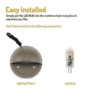 Lumina LED Low Voltage Landscape Lighting Cast-Aluminum Deck and Step Lights Warm White 2W G4 LED Bulb Included Garden Yard Decoration Lights for Stair Pathway Bronze Finish DSL0103-BZLED12 (12PK) (Color: Led Bronze 12pk)