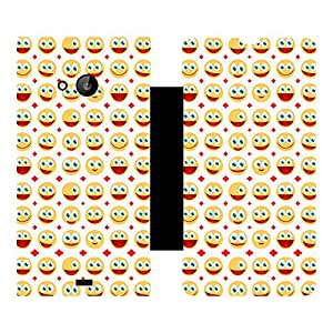 Skintice Designer Flip Cover with Vinyl wrap-around for Nokia Lumia 535 , Design - smily