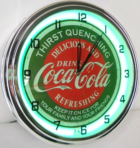 """Coca Cola 15"""" Neon Wall Clock Lighted Distressed Sign Soda Pop Shop Coke Bottle Logo Vintage Retro Style Green front-321547"""