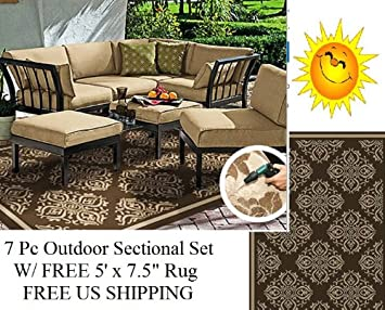 7 pc Outdoor Patio Deck Sectional Chat Set W/ 2 Ottomans Tan + FREE Area Rug