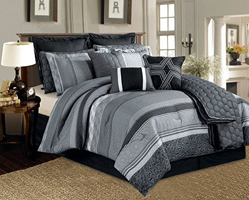 12 Pieces Silver Grey Black White Stripe Comforter Set Queen Size Bedding front-805943