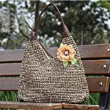 Graceful Flower Shoulder/Hand Straw Bag, PU Handle Tote Bagby NicyNicy