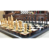 Combo of Lotus Series Chess Pieces & Wooden Chess Board in Ebony & Box Wood - 4.3