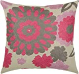 Rizzy Home T-3483 Decorative Pillows, 18 by 18-Inch, Pink/Gray, Set of 2