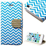 "myLife Sky Blue and White {Chevron and Buckle Design} Faux Leather (Card, Cash and ID Holder + Magnetic Closing) Slim Wallet for the iPhone 5C Smartphone by Apple (External Textured Synthetic Leather with Magnetic Clip + Internal Secure Snap In Hard Rubberized Bumper Holder) ""MORE INFO: This lightweight iPhone 5C wallet is made of durable and high quality synthetic leather and is designed to fit the iPhone 5C only. The leather itself is textured to prevent the wallet from slipping out of your hand while being handled. This wallet comes with a magnetic clasp."""