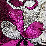 TRLYC Double Color 3 Yards Fushia Pink and Silver Reversible Sequin Fabric for Wedding Dress Reversible Sequin Pillow Fabric (Color: Fushis Pink Silver, Tamaño: Three Yards)