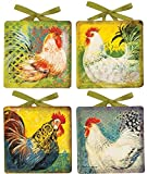 Manual Decorative Plates, Mini, Boho Roosters by Susan Winget, Set of 4