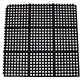 New Star 2 Pcs Anti-Fatigue Rubber Interlocking Restaurant Floor Mat, 3-feet by 3-feet, Black