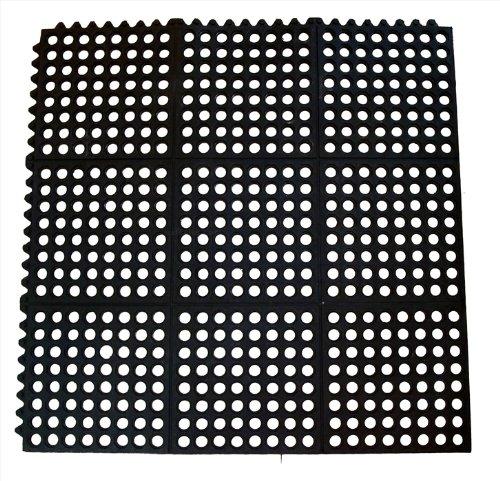 New Star 1 pc Heavy Duty Black 36×36 inch  Interlocking Restaurant / Bar Anti-Fatigue Rubber Floor Mat