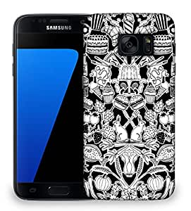 Snoogg black and white feast Designer Protective Back Case Cover For Samsung Galaxy S7