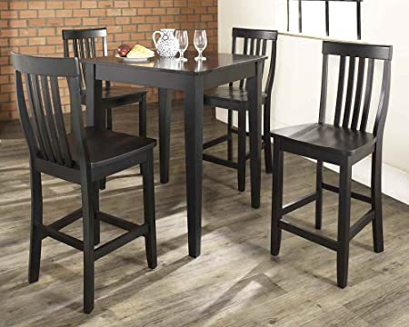 Crosley Furniture 5 Piece Pub Dining Set With Tapered Leg And School House Stools - Black