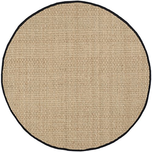 Safavieh Natural Fiber Collection NF114C Natural Background and Black Border Seagrass Round Area Rug, 6 feet in Diameter (6' Diameter)