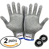 Cut Resistant Gloves By FORTEM - 2 PAIRS - Level 5 Protection, EN388 Certified Safety Gloves For Hand Protection, Kitchen, Outdoor Yard Work + 2 Hair Nets Included (Medium)