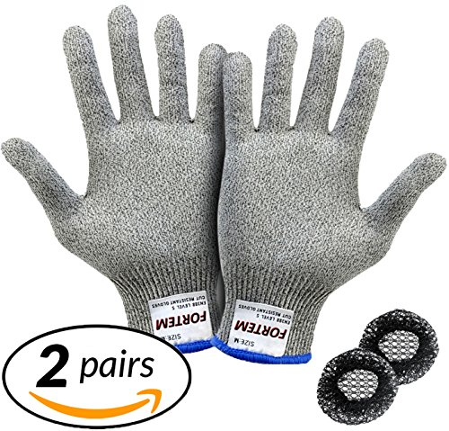 Cut Resistant Gloves By FORTEM - 2 PAIRS - Level 5 Protection, EN388 Certified Safety Gloves For Hand Protection, Kitchen, Outdoor Yard Work + 2 Hair Nets Included (Medium) (Meat Cutter Gloves compare prices)
