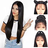 Andria Hair Lace Front Synthetic Wigs Long Straight Heat Resistant Hair Pre Plucked Wig with Baby Hair Bleached Knots for Women ( Black Hair 26