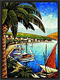 26in x 34in Cote d\'Azur I by Thomas Young - Black Floater Framed Canvas w/ BRUSHSTROKES