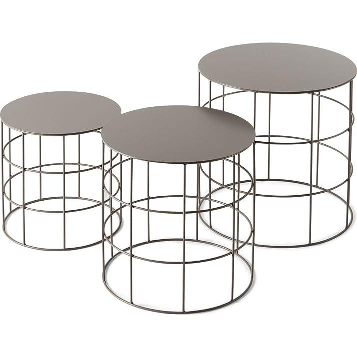 Reton -Set di 3 tavolini tondi colore Tortora
