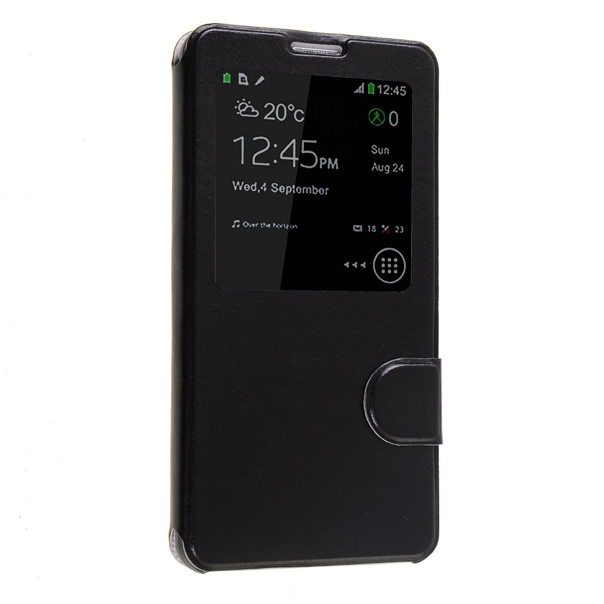 Okeler Hot Black S-View Flip Cover Leather Case