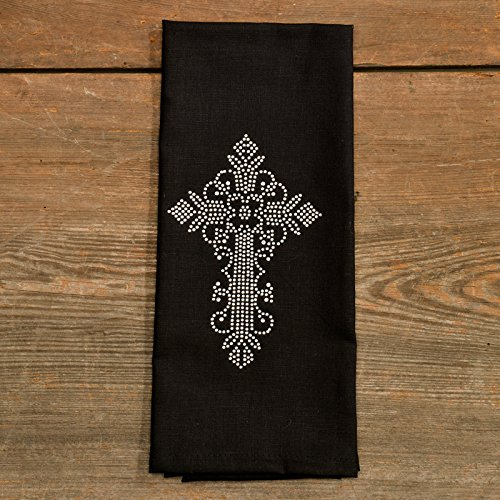 Black Jeweled Cross Tea Towel