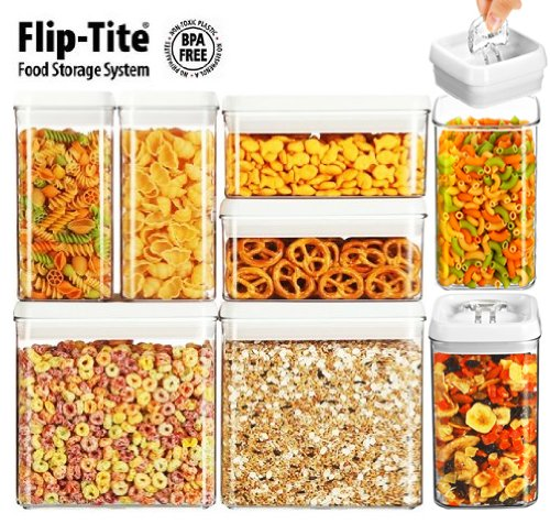 Felli Flip-Tite System 8 Pc Vacuum Airtight Food Storage Stackable Container Set
