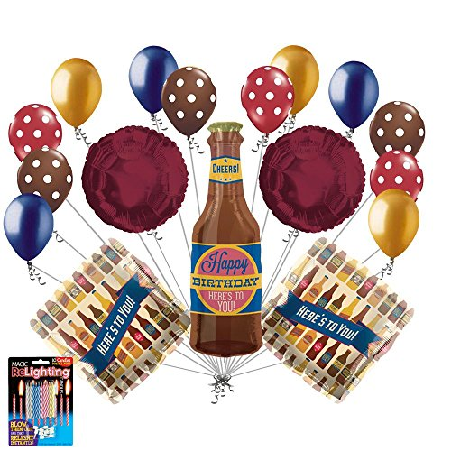 17 Pc Beer Bottle Heres To You Balloon Bouquet Happy Birthday Husband Dad Party