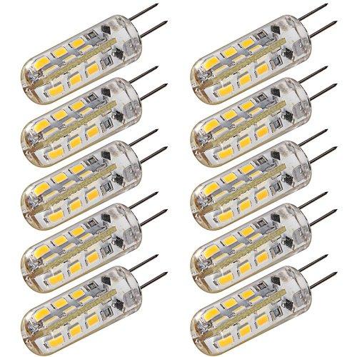 Pack Of 10Pcs 360 Beam Angle 24Leds High Power 3W 12V Smd3014 G4 Crystal Led Car Bulb Lamp Light Warm White