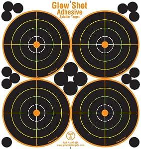 25 Pack - 4 Bullseye - Reactive Splatter Targets - Adhesive Multicolor Version- GlowShot - Gun and Rifle Targets