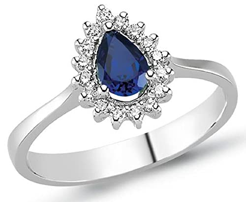 0.78 Carats 18k Solid White Gold Blue Sapphire and Diamond Engagement Wedding Bridal Promise Ring Band