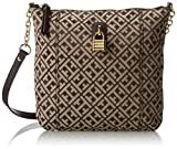 Tommy Hilfiger Chain Lock Jacquard Cross Body Bag,Dark Chocolate/Ecru,One Size