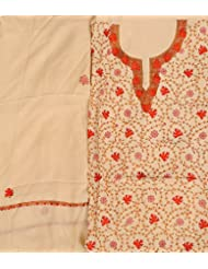 Exotic India Alabaster-Gleam Salwar Kameez Fabric From Kashmir With - Off-White