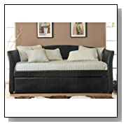 Faux Leather Dark Brown Trundle Daybed