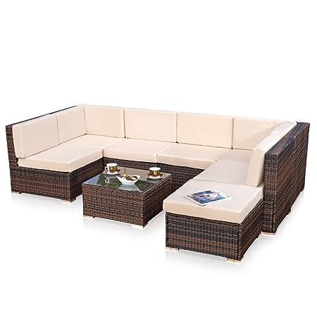 XXL Lounge Gartenmöbel Set Sitzgruppe Garten Sofa + Auflagen in braun aus PolyRattan
