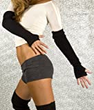 Light Grey Fierce & Friendly KD dance Arm Warmers, Stretch Knit Fingerless Gloves with Thumb Hole, High Quality, Soft, Fashionable & Functional, Made In New York City USA Picture